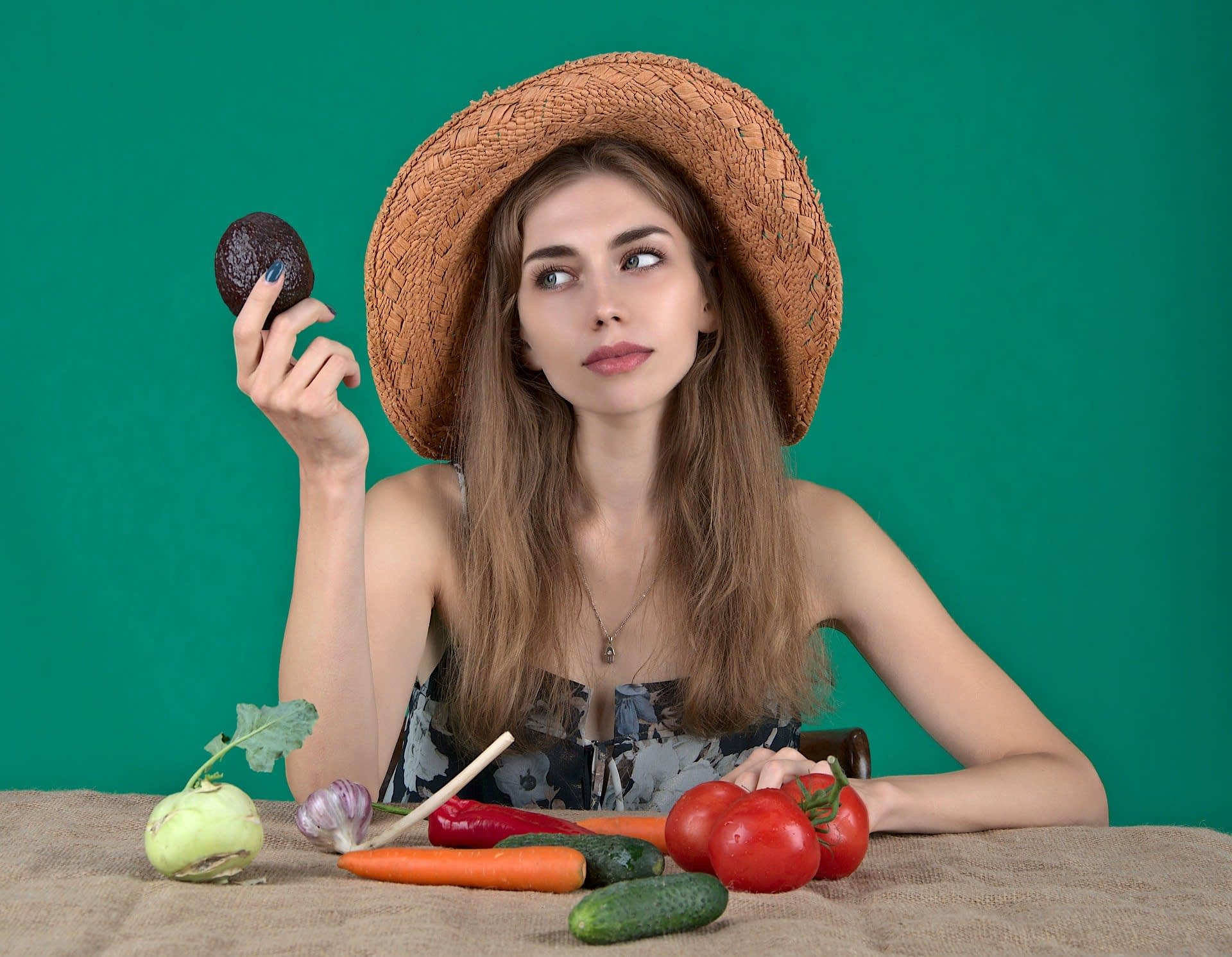 girl and vegetables